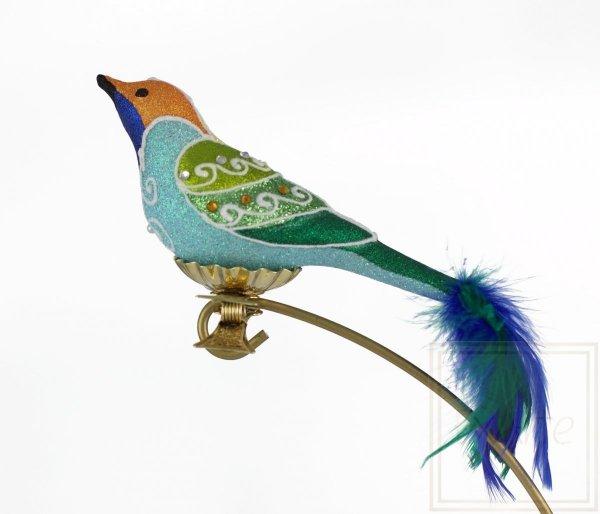 szklana bombka ptak / Blauer Vogel - 9cm