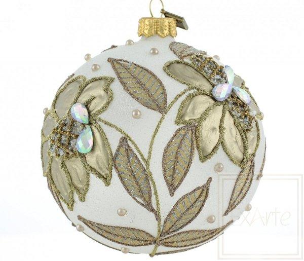 biała bombka złote liście / 10cm Kugel - goldene Blume