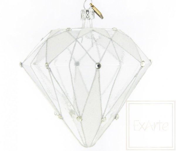 Bombka diament srebrna, Diamant 10cm - Kristall