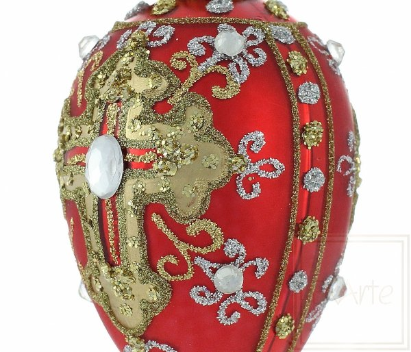 Jajko 7cm - Diamenty na czerwieni, Egg 7cm - Diamonds in red, Egg 7cm - Diamonds in red