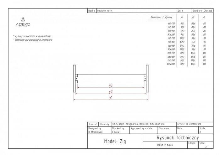 Zig 90x180cm Łóżko młodzieżowe ADEKO