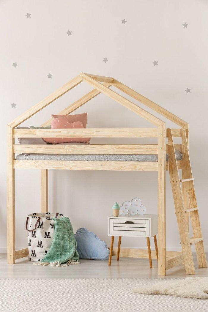 DMPBA 70x160cm Łóżko piętrowe dziecięce domek Mila ADEKO