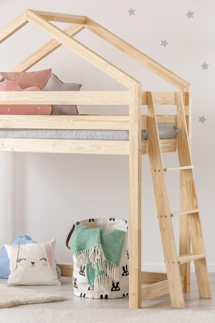DMPBA 90x200cm Łóżko piętrowe dziecięce domek Mila ADEKO