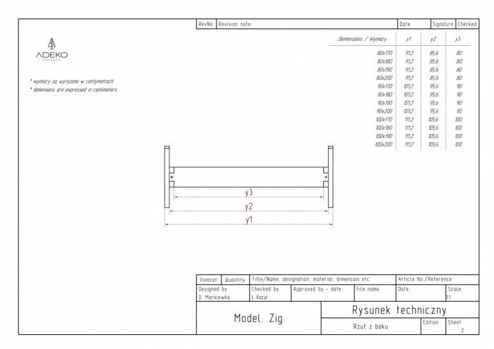 Zig 80x170cm Łóżko młodzieżowe ADEKO