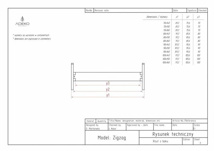 Zig 90x140cm Łóżko młodzieżowe ADEKO