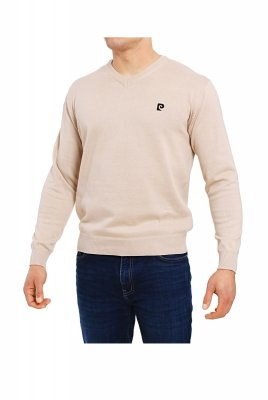 Pierre Cardin V-Logo beżowy Sweter