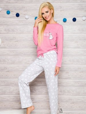 Taro 1193 Oda AW/17 K3 Różowo-popielata piżama damska