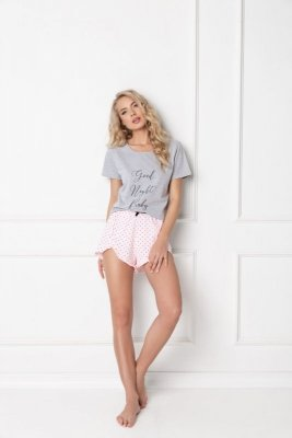 Aruelle Grace Short Grey-Pink piżama damska