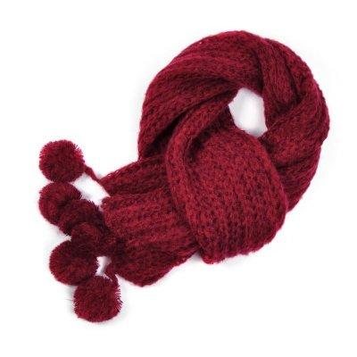 Art of Polo Pomponiasty Czerwony szal
