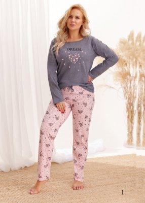 Taro Mela 2464 AW/20 - Kolor 01 - Szary melanż-różowy melanż piżama damska