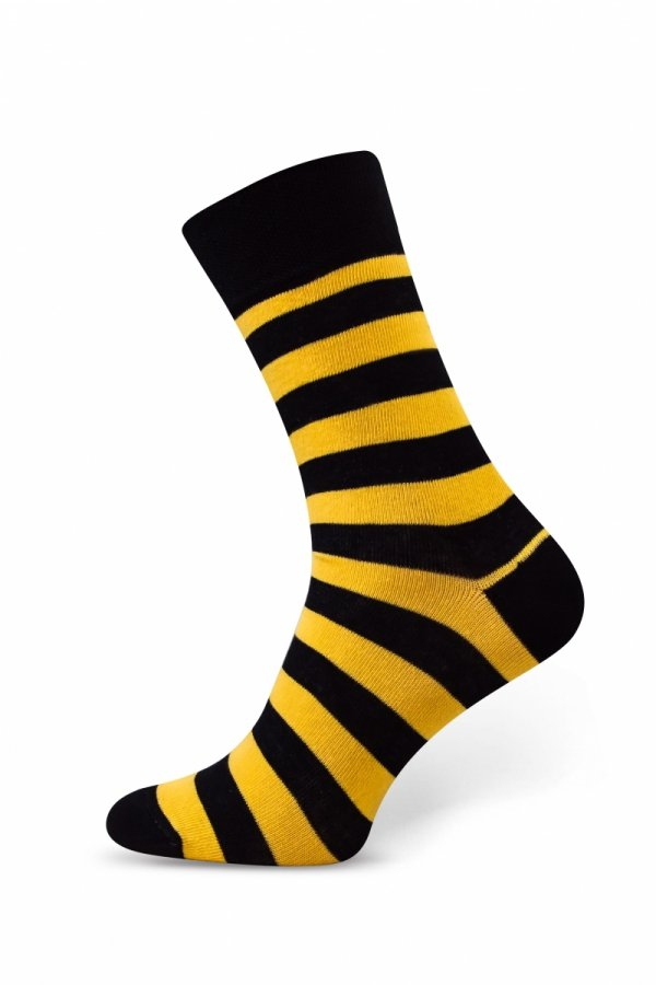 Sesto Senso Finest Cotton paski/czarno-żółte Skarpety