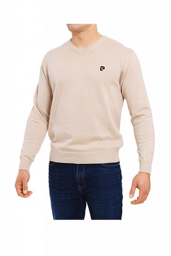 Pierre Cardin V-Logo beżowy Sweter