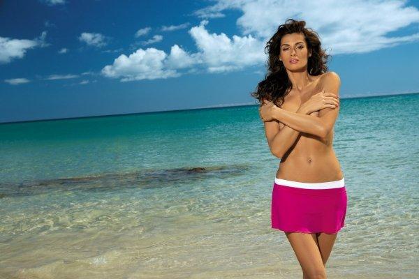 Spódniczka plażowa Marko Meg Magenta-Bianco M-266 Fuksja z bielą (296)