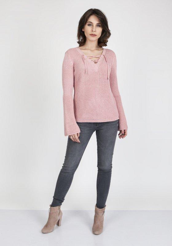 MKMSwetry Kylie SWE 117 Pudrowy róż sweter damski