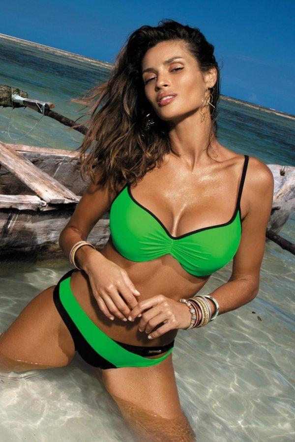 Marko Kostium kąpielowy Jennifer M-408 Bright Green-Nero