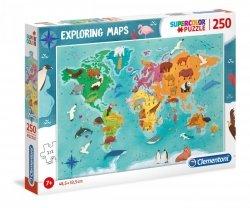 Puzzle Mapa Zwierzęta na Świecie 250 el. Clemetoni 29063