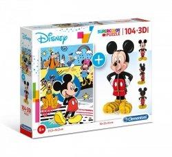 Puzzle Myszka Mickey 104 el. + Model 3D Clementoni 20157