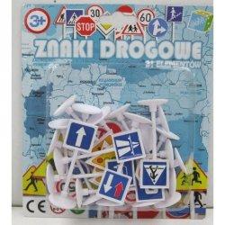 Zestaw Plastikowych Znaków Drogowych na Blistrze 21 el.