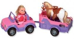 Laleczka Evi  w jeepie z koniem na przyczepce Simba 5737460