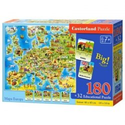 Puzzle Mapa Europy z quizem 180 el. Castorland 673852