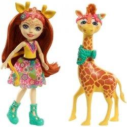 Lalka Gillian Giraffe z żyrafą Pawl Enchantimals Mattel FKY72 FKY74