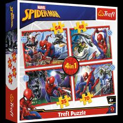 Puzzle 4w1 Bohaterski Spider-Man 35/48/54/70 el. Spiderman Trefl 34384