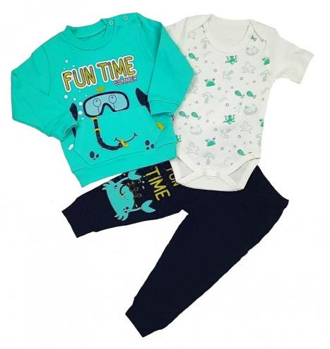 Komplet Dziecięcy 3 częściowy dla Chłopca Body Bluzka Spodnie