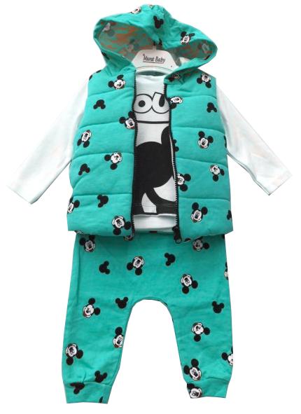 Komplet Dziecięcy 3 częściowy Kamizelka Bluzka Spodnie Miki Mięta