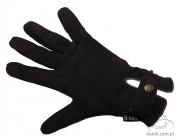 Rękawiczki KENIG ze skóry koziej z wykończeniem welurowym- jeżynowe