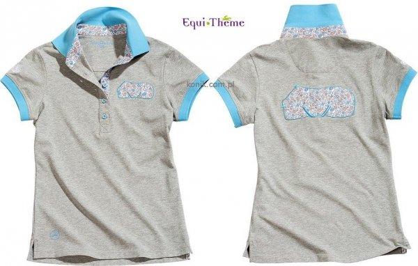 Koszulka polo FLOWER RUG szara - Equi-Theme