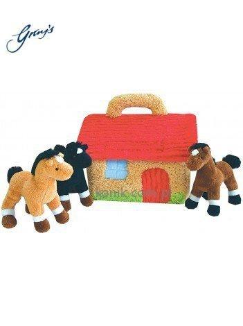 Pluszowa stajnia z trzema końmi - GRAY'S