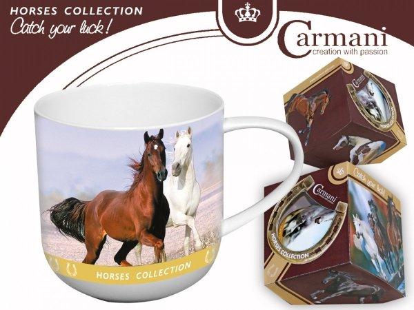 Kubek dwa konie kłusujące - Carmani