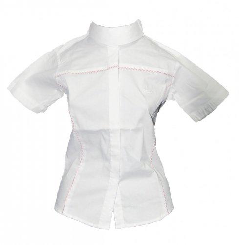 Koszula konkursowa z krótkim rękawem damska - Jacson - biały/czerwony