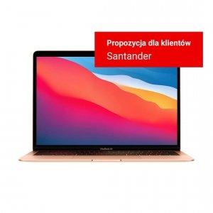 MacBook Air z Procesorem Apple M1 - 8-core CPU + 7-core GPU / 8GB RAM / 256GB SSD / 2 x Thunderbolt / Gold (złoty) 2020 - nowy model - Strefa Santander