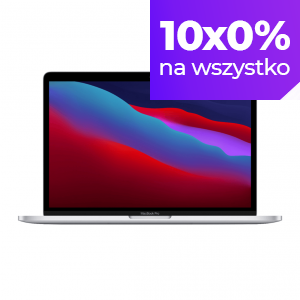 MacBook Pro 13 z Procesorem Apple M1 - 8-core CPU + 8-core GPU / 8GB RAM / 512GB SSD / 2 x Thunderbolt / Silver (srebrny) 2020 - nowy model