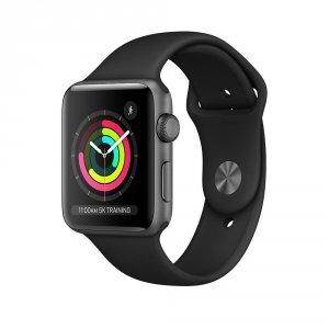 Apple Watch Series 3 38mm GPS Aluminium w kolorze gwiezdnej szarości z paskiem sportowym w kolorze czarnym