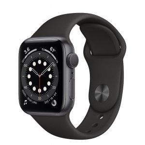 Apple Watch Series 6 40mm GPS Aluminium w kolorze gwiezdnej szarości z paskiem sportowym w kolorze czarnym