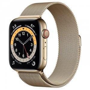 Apple Watch Series 6 44mm GPS + LTE (cellular) Stal nierdzewna w kolorze złotym z bransoletą mediolańską w kolorze złotym