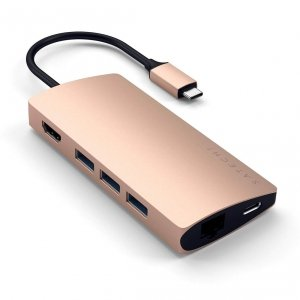 Satechi USB-C Multiport Ethernet V2 HUB - 3xUSB 3.0 / Ethernet / HDMI / USB-C (PD) / SD / microSD / Gold (złoty)