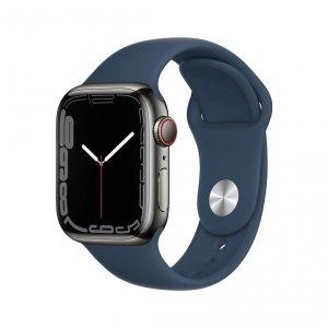 Apple Watch Series 7 41mm GPS + Cellular (LTE) Koperta ze stali nierdzewnej w kolorze grafitowym z paskiem sportowym w kolorze błękitnej toni