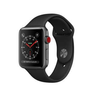 Apple Watch Series 3 / GPS + LTE / Koperta 42mm z aluminium w kolorze gwiezdnej szarości / Pasek sportowy w kolorze czarnym - outlet