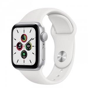 Apple Watch SE 40mm GPS Aluminium w kolorze srebrnym z paskiem sportowym w kolorze białym - nowy model