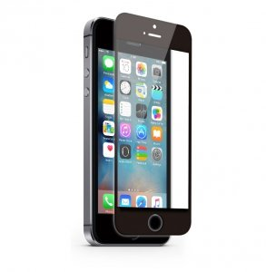 KMP Szkło ochronne iPhone SE/5S/5 Czarny