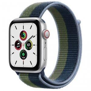 Apple Watch SE 44mm GPS + Cellular Aluminium w kolorze srebrnym z opaską sportową w kolorze błękitnej toni/zielonego mchu