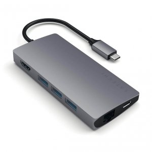 Satechi USB-C Multiport Ethernet V2 HUB - 3xUSB 3.0 / Ethernet / HDMI / USB-C (PD) / SD / microSD / Space Gray (gwiezdna szarość)