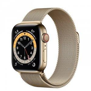 Apple Watch Series 6 40mm GPS + LTE (cellular) Stal nierdzewna w kolorze złotym z bransoletą mediolańską w kolorze złotym