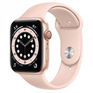 Apple Watch Series 6 44mm GPS + LTE (cellular) Aluminium w kolorze złotym z paskiem sportowym w kolorze piaskowego różu