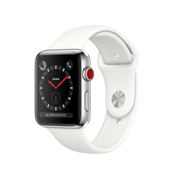 Apple Watch Series 3 / GPS + LTE / Koperta 42mm ze stali nierdzewnej w kolorze srebrnym / Pasek sportowy w kolorze białym