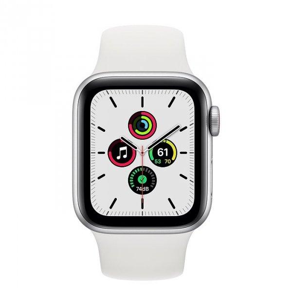 Apple Watch SE 40mm GPS + LTE (cellular) Aluminium w kolorze srebrnym z paskiem sportowym w kolorze białym - nowy model