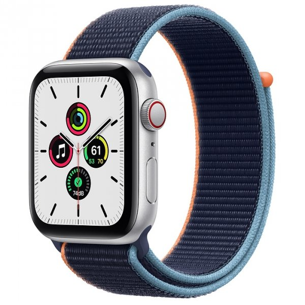 Apple Watch SE 44mm GPS + LTE (cellular) Aluminium w kolorze srebrnym z opaską sportową w kolorze głębokiego granatu - nowy model